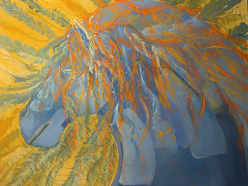 """Peinture """"Cheval bleu plumé"""""""