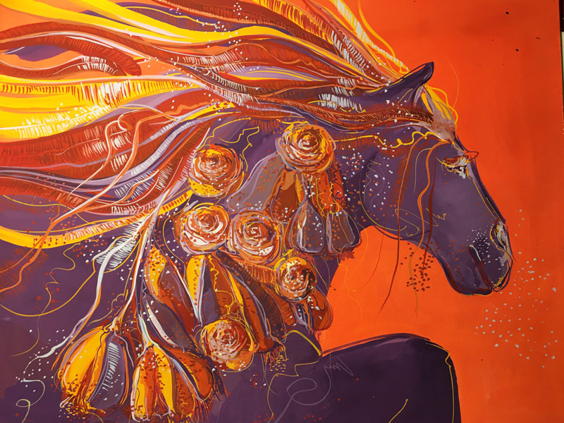 "Peinture ""Cheval violet"""