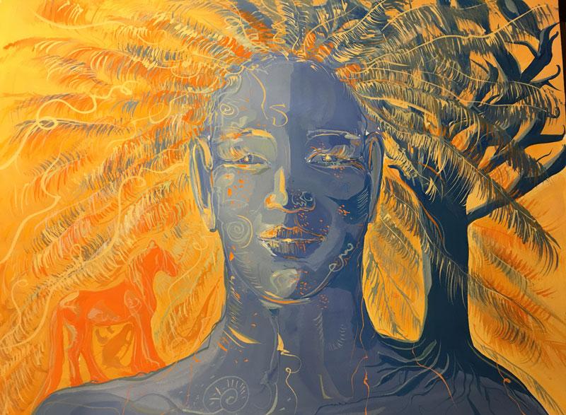 """Peinture """"Magie solaire et l'indien bleu"""""""