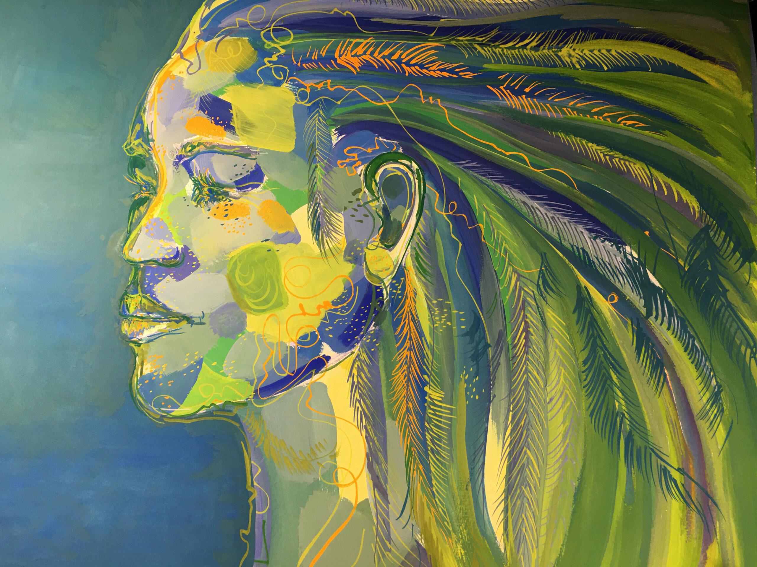 """Peinture """"Rêve de plumes vertes"""""""
